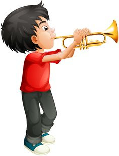 A boy playing with his trombone Royalty Free Vector Image Kids Cartoon Characters, Music Lessons For Kids, Powerpoint Design Templates, Flower Background Wallpaper, Cute Clipart, Music Images, Boys Playing, Trombone, Preschool Art