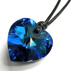 Queenberry (Free S/H) Swarovski Crystal Bermuda Blue Heart Love Charm Pendant 18mm Black Leather 1mm Necklace 14