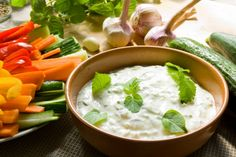 Tzatziki and Veggie Sticks Recipes: Opposites attract. Balance a spicy, hearty main with light, crisp veggie sticks and cool Greek-style tzatziki dip. Oetker's deletable and delicious recipes Hcg Recipes, Dairy Free Recipes, Diabetic Recipes, Cooking Recipes, Healthy Recipes, Gluten Free, Delicious Recipes, Cooking Sauces, Greek Recipes