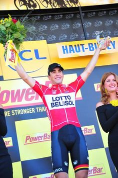 Stage 11: Besançon - Oyonnax 187.5km - Tony Gallopin (Lotto Belisol) celebrates his win on stage 11 of the Tour de France
