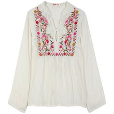 EMBROIDERED BLOUSE ($125) ❤ liked on Polyvore featuring tops, blouses, shirts, women, stand collar shirt, rayon shirts, embroidered blouse, nude shirt and long-sleeve shirt
