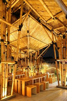 Outdoor Bamboo Restaurant in Jakarta, Indonesia Bamboo Restaurant, Outdoor Restaurant, Restaurant Design, Noodle Restaurant, Bamboo Structure, Timber Structure, Shade Structure, Bamboo Architecture, Sustainable Architecture