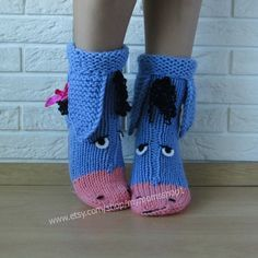 The cutest wool knit socks ever! Eeyore knitted socks , the donkey from Winnie the Pooh! Socks - handmade gift! Perfect to give as a gift. Very warm and cozy, perfect for cold winters, to run around the house. We hand knit our socks with 50% wool to make them last longer and still be very warm. When ordering, please message us asap with your shoe size. SHIPPING: all items are shipped within 1-5 days from Belarus, Eastern Europe DELIVERY takes: 1-2 weeks to Europe 2-4 weeks to the USA NOT...