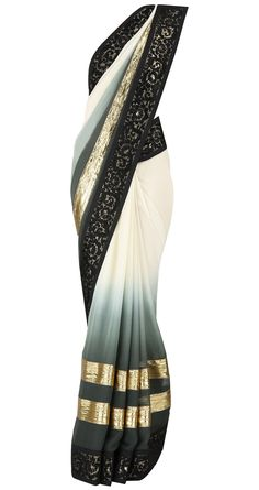 If I ever had a reason to wear a sari. Ivory to grey green ombre sari with velvet appliqué border and gota stripes. It comes with a matching blouse piece, available only at Pernia's Pop Up Shop. Asian Fashion, Fashion Beauty, Womens Fashion, Oriental Fashion, Indian Attire, Indian Wear, Indian Style, Indian Dresses, Indian Outfits