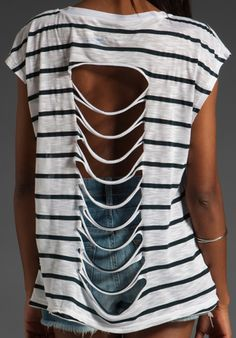DIY: Cut Up Shirt ====> worked okay. unable to do side tie.and the top looked funky.