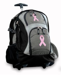 Pink Ribbon Rolling Backpack Breast Cancer Support Wheeled School Bag or Carryon ** Check out this great product. (This is an Amazon Affiliate link and I receive a commission for the sales)