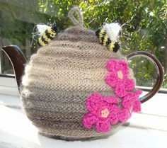 Hand knitted beehive tea cosy