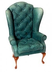 A Vintage Green Leather Chair By Judy Beals, Author Of How To Build  Furniture And Room Settings.