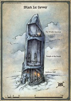 The Black Ice Tower map was originally created as part of the D&D Encounters adventure Legacy of the Crystal Shard. Join the inhabitants of the North in their struggle against the sinister influence of Crenshinibon, the Crystal Shard Fantasy City Map, Fantasy Places, Fantasy World, Dark Fantasy, Dcc Rpg, Pen & Paper, Rpg Map, Adventure Map, Dungeons And Dragons Homebrew
