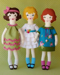 Ellie - PDF Pattern Wool Felt Doll. $20.00, via Etsy. Sweet felt dolls you know I can't resist you!