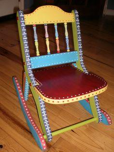 Hand Painted Folk Art Rocking Chair-Whimsical Childs Chair-Gypsy Folk Art ~ via Etsy. Art Furniture, Funky Painted Furniture, Colorful Furniture, Repurposed Furniture, Painted Rocking Chairs, Funky Chairs, Side Chairs, Dining Chairs, Tole Painting