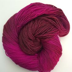 Hand dyed fine yarn, kettle dyed yarn 8ply, DK Weight, wool milk protein blend crimson carmine - pinned by pin4etsy.com