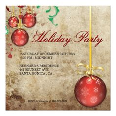 Christmas Party Invitation Fancy Ornaments