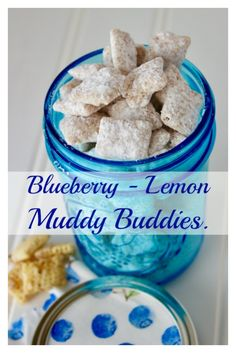 Blueberry - Lemon Muddy Buddies These are a refreshing variation from the traditional muddy buddies. Thank you to Chex for providing me with the Blueberry Chex cereal to try and this recipe! Puppy Chow Recipes, Chex Mix Recipes, Snack Recipes, Dessert Recipes, Candy Recipes, Lemon Muddy Buddies, Muddy Buddies Recipe, Chocolate Banana Muffins, Just Desserts