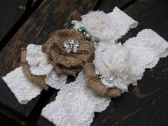 Wedding Garter and Toss, Shabby Chic Vintage Inspired Garter with Pearls and Rhinestones  Burlap and Bling on Etsy, $34.99