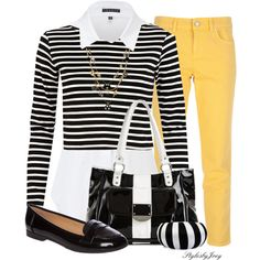 """Bee Stripes"" by stylesbyjoey on Polyvore"