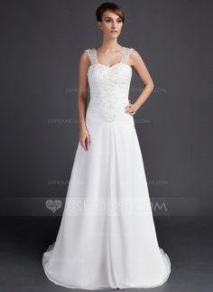 Wedding Dresses - $162.99 - A-Line/Princess Sweetheart Court Train Chiffon Wedding Dress With Ruffle Lace Beadwork (002000061) http://jjshouse.com/A-Line-Princess-Sweetheart-Court-Train-Chiffon-Wedding-Dress-With-Ruffle-Lace-Beadwork-002000061-g61