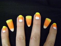 I LOVE CANDY CORN!  This would have fit my Halloween desk design last year and matches my candy corn lights perfectly.  I might have to decorate my whole house this year just so I can paint my nails to match!!