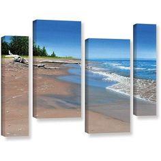 ArtWall Ken Kirsh Driftwood Beach 4-Piece Gallery-Wrapped Canvas Staggered Set, Size: 24 x 36, Blue