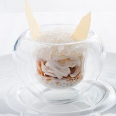 GUY SAVOY RESTAURANT - MONNAIE DE PARIS: Pearls of Japan cooked with coconut milk, accompanied by a julienne of coconut and a granite with coconut water.