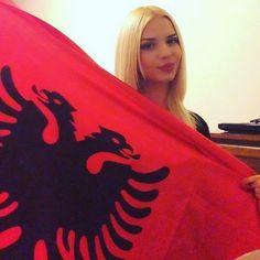 Albanian Pride Worldwide Albanian girls wearing red and black, Albanian flag