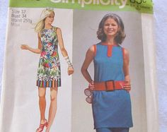 I have this one! Vintage SIMPLICITY 9410 --Misses' Supe- Jiffy Mini-Dress and Pants-- (1971) --size 16, Bust 38