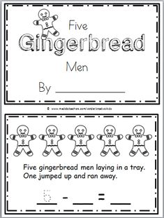 """Free Gingerbread Man Subtraction Mini Book for Kindergarten Math Practice subtraction using the song """"The Five Gingerbread Men"""", then complete and read the mini book. You can find the s… #mathpractice"""