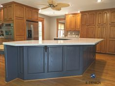 Kitchen Island Oak, Navy Blue Kitchen Cabinets, Painted Kitchen Island, Painted Island, Maple Kitchen Cabinets, Brown Cabinets, Painting Kitchen Cabinets, Kitchen Island Different Colour, Kitchen Paint Colors