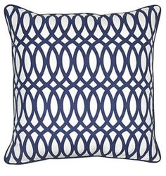 Trellis 22x22 Cotton Pillow, Navy