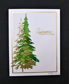 Green & Gold by hobbydujour - Cards and Paper Crafts at Splitcoaststampers Stampin Up Christmas, Christmas Cards To Make, Christmas Tag, Xmas Cards, Handmade Christmas, Holiday Cards, Image Paper, Winter Cards, Cool Cards