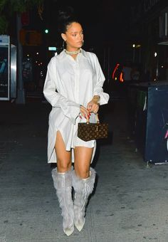 Rihanna Hits New York City in a Dries Van Noten Sleeveless Sweater and Striped Wide Leg Pants, a Gray Faustine Steinmetz Pleated Sweatshirt and Trackpants, and More!