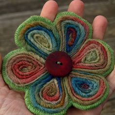 Welsh flowers- wool roving needle felted brooch by Nimblejacks, via Flickr