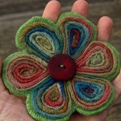 Welsh flowers- wool roving needle felted brooch by Nimblejacks, via Flickr
