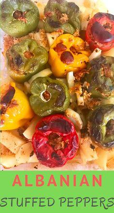 Stuffed Peppers - An Albanian Recipe - Mediterranean Latin Love Affair Albanian Recipes, Albanian Food, Night Dinner Recipes, Dinner Ideas, Croation Recipes, Bolivian Food, Great Recipes, Healthy Recipes, Summer Dishes