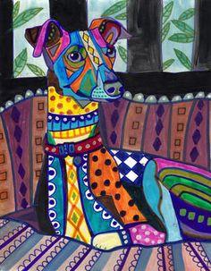 Italian Greyhound Art Dog Poster PRINT Painting Christmas Gift HEATHER GALLER