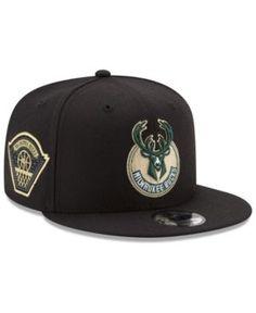 New Era Milwaukee Bucks All Metallic Hoops 9FIFTY Snapback Cap - Black Adjustable