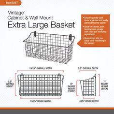 Cabinet & Wall Mount Extra Large Basket