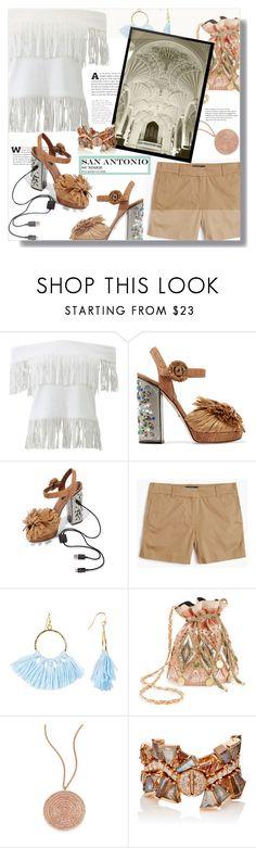 """San Antonio Summer Travel Outfit"" by letiperez-reall ❤ liked on Polyvore featuring Jonathan Simkhai, Dolce&Gabbana, J.Crew, Taolei, Miss Selfridge, Astley Clarke, Nak Armstrong, texas, polyvoreeditorial and SanAntonio"