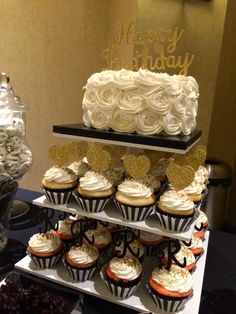 Gold, black and white birthday party desserts! See more party planning ideas at CatchMyParty.com!
