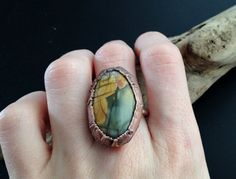 Picasso Jasper Ring  Statement Ring  Unique Ring  by CopperDrift