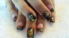 Glitter on black Mylar Nails, Pretty Hands, Fingers, Favorite Things, Asia, Nail Polish, Nail Art, Glitter, Random