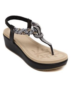 Black Loop Embellished Leather Sandal