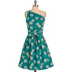 Trollied Dolly Daisy in Love Dress (5.280 RUB) ❤ liked on Polyvore featuring dresses, modcloth, vestidos, stretch dress, blue cotton dress, blue daisy dress, cotton stretch dress and pattern dress