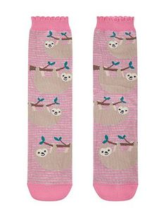 Ladies//Girls Blue Sloths Nap All Day With Pink Hearts Cotton Ankle Socks