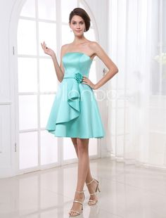 A-line Green Satin Floral Strapless Knee-Length Fashion Bridesmaid Dress. A-line Green Satin Floral Strapless Knee-Length Fashion Bridesmaid Dress. See More Bridesmaid Dresses at http://www.ourgreatshop.com/Bridesmaid-Dresses-C926.aspx