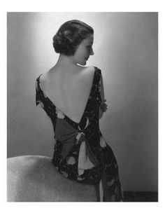 Vogue - February 1934 - Model in Printed Dress with Low-Cut Back by Edward Steichen.
