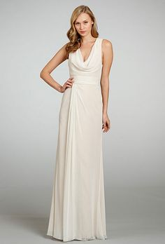 Brides: Jim Hjelm Occasions. Cowl-neck floor-length dress, style JH5305, Jim Hjelm Occasions