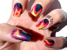 My guest post for Shades of Phoenix, Phoenix & flames design, neon & holographic