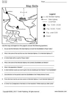 TLSBooks.com FREE Worksheets... Map Skills worksheet... Grade recommendation: 3-4   Students will use the map legend to answer a variety of questions pertaining to the map. This worksheet is a useful tool for those children just learning about maps. An answer key is included. •   Common Core State Standards Alignment: RI.3.1