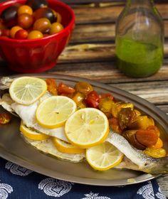 Roasted Branzino with Tomatoes and Lemon Basil Sauce